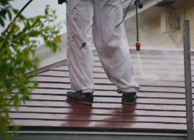 This image shows roof washing in Folsom, CA.