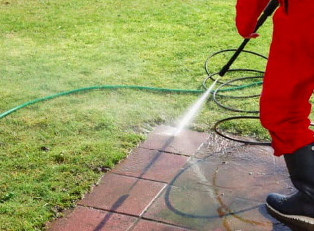 This image shows pressure washing in Sacramento, CA.